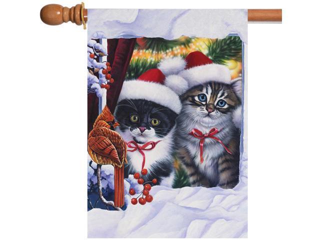 Toland Kitten In Window 28 x 40 Christmas Snow Cat Cardinal Bird House Flag (017917212402 Home & Garden Decor Flags & Windsocks) photo