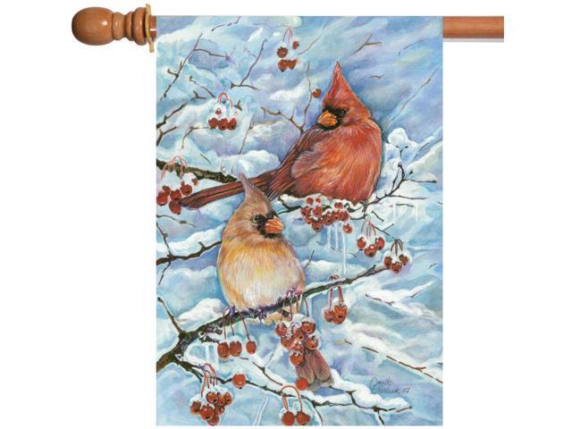 Toland Cardinals & Berries 28 x 40 Winter Bird Snow Branch House Flag (017917201697 Home & Garden Decor Flags & Windsocks) photo