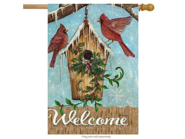 Snow Birds Winter House Flag Welcome Cardinals Birdhouse 28'x40' Briarwood Lane (Home & Garden Decor Flags & Windsocks) photo