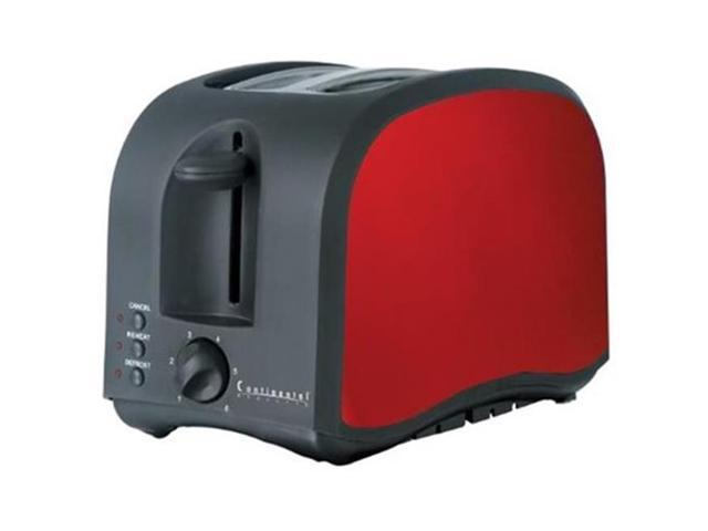 Continental Electric America 2-Slice Metallic Toaster, Black & Red CM43435 photo