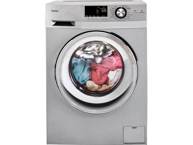 Haier 24-Inch Wide Front Load Washer And Dryer Combination, Silver photo