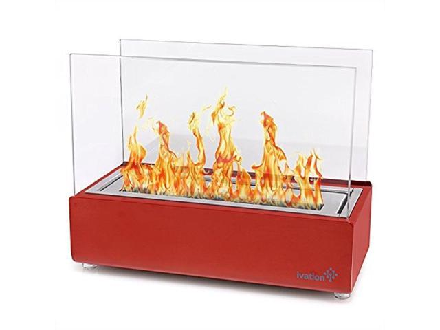 Recertified - Vent less Compact Tabletop Ivation Fireplace (Red) photo