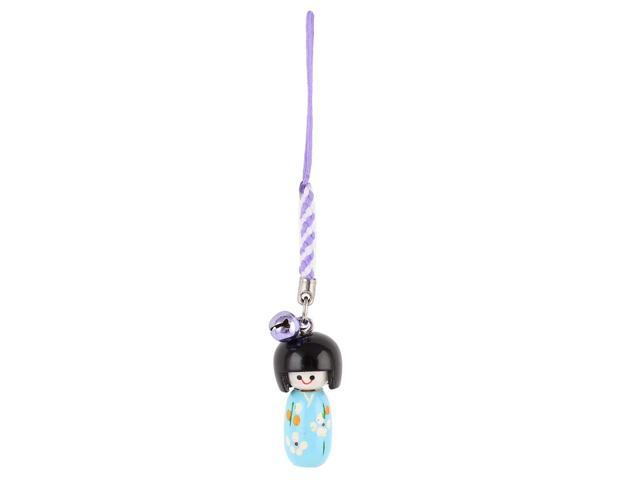 Unique Bargains Flower Print Light Blue Japanese Kokeshi Dangled Purse Phone Strap Hanging Decor (Electronics Communications Telephony) photo