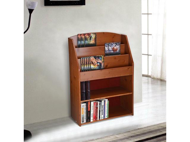 Wood Bookshelf Bookcase Storage Organizer Display Book Rack Shelving Brown Painting Finish Furniture