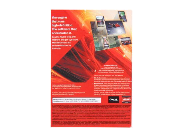 AMD Gift - Cyberlink MediaEspresso 6.5 and MediaShow 5.1 Coupon - Retail