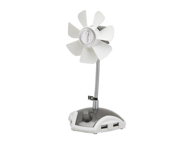 ARCTIC Breeze Pro USB-Powered 92mm Desktop Fan, Adjustable Fan Speed, 4-Port USB Hub - White