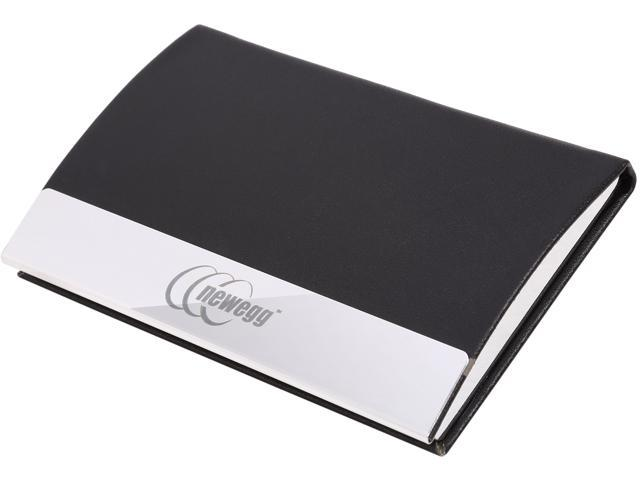 Black Leatherette business card case with stainless steel trims. Newegg logo engraved. It is a premium executive gift with a sleek and elegant design.