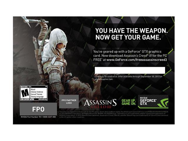 NVIDIA Gift - Assassin's Creed III Game Coupon - OEM