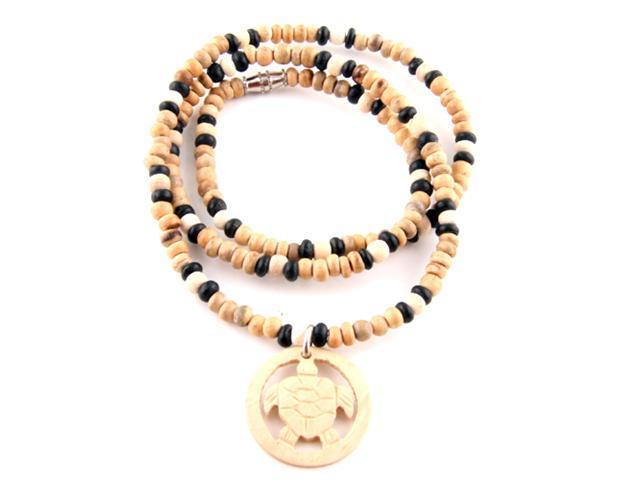 Wooden Bead Necklace - Turtle Pendant
