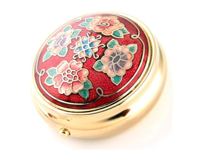 Fashionable Pill Box - Gold Tone Color with Flower Design