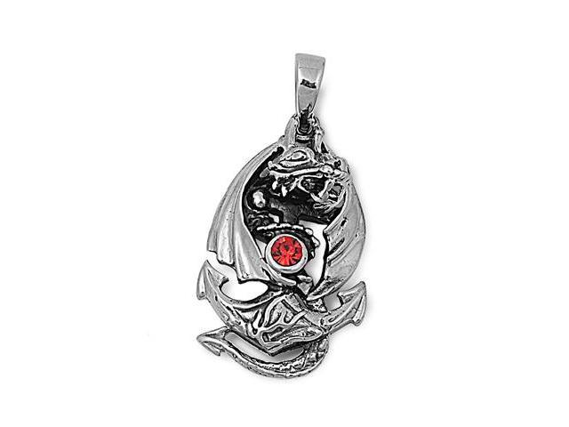 Steel Pendant - Dragon with Anchor