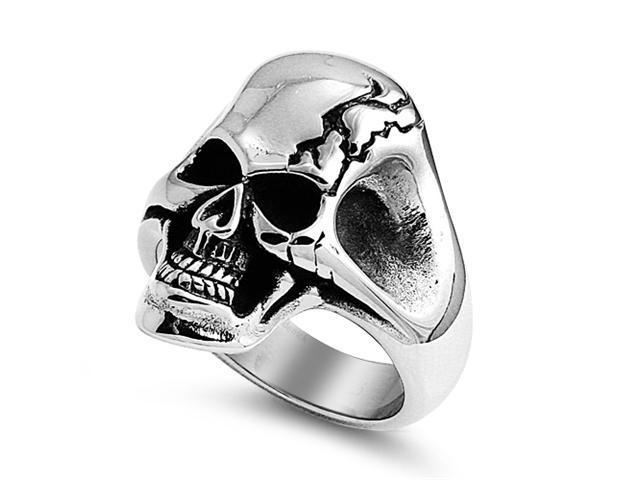 Stainless Steel Casting Ring - Skull Cracked - Size : 9