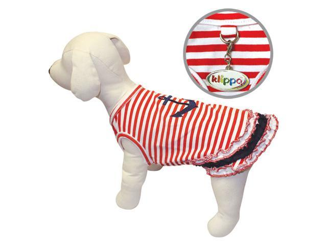 Cute and Stripy Dog Sailor Shirt with Ruffles - L