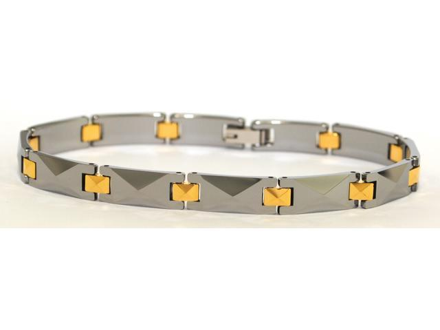 """8"""" x 1/4"""" Narrow tungsten carbide bracelet middle links electroplated gold"""