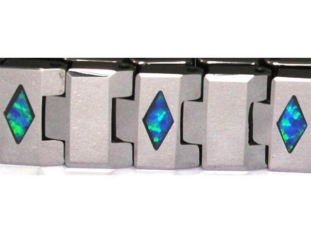 "8"" x 1/3"" Tungsten Carbide Bracelet with inlays of Blue Precious Opal"