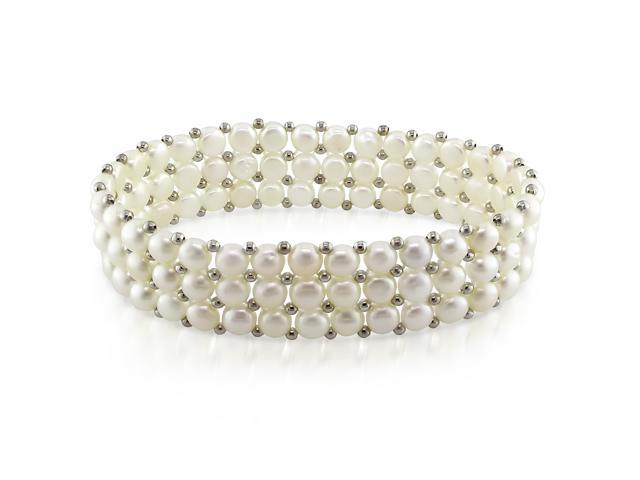 """7"""" Triple-Row 5 - 5.5mm FW White Button Pearl Elastic Bracelet with Brass Beads"""