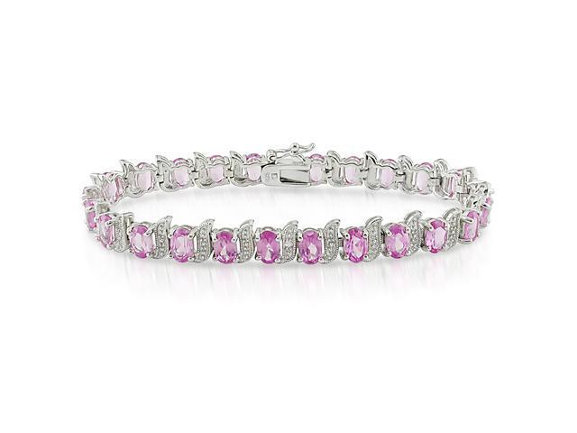 Created Pink Sapphire Bracelet Silver I3 Length (inches): 7.25