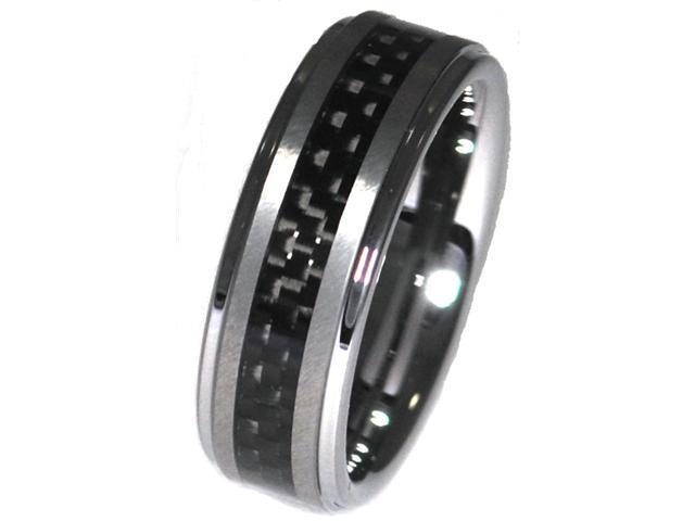 Tungsten Carbide Ring with Inlay of Black Carbon Fiber