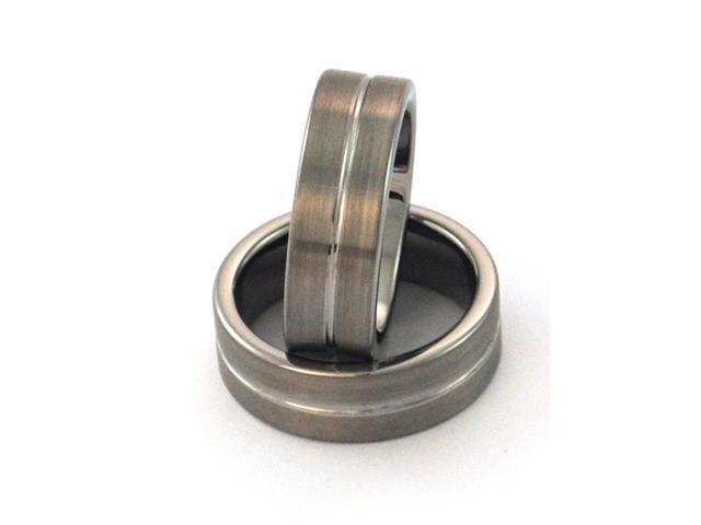 Tungsten Carbide ring, comfort fit, satin finish with center groove