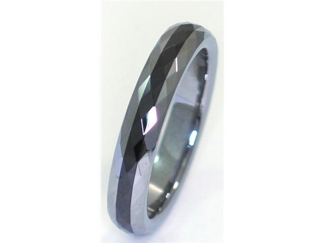 4mm wide Tungsten Carbide RIng with Seamless Black Ceramic Inlay