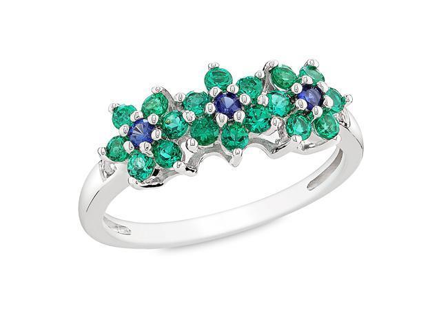 0.01 CT Diamond TW And 5/8 CT TGW Gemstone Flower Ring Silver I3