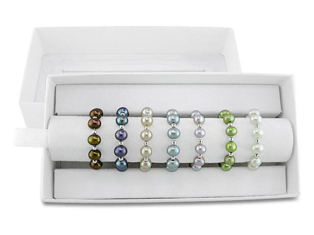4-5mm Freshwater Pearls and Sterling Silver Beads Rings (Set of 7)