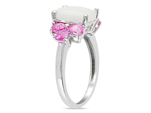 Sterling Silver 3 1/3ct TGW Opal and Created Pink Sapphire Fashion Ring