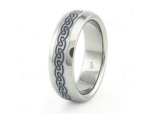 Men's Titanium Ceramic Ring w/ Celtic Laser Design 8mm