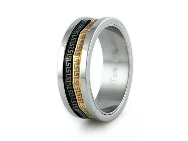 Stainless Steel Men's Ring w/ Greek Design