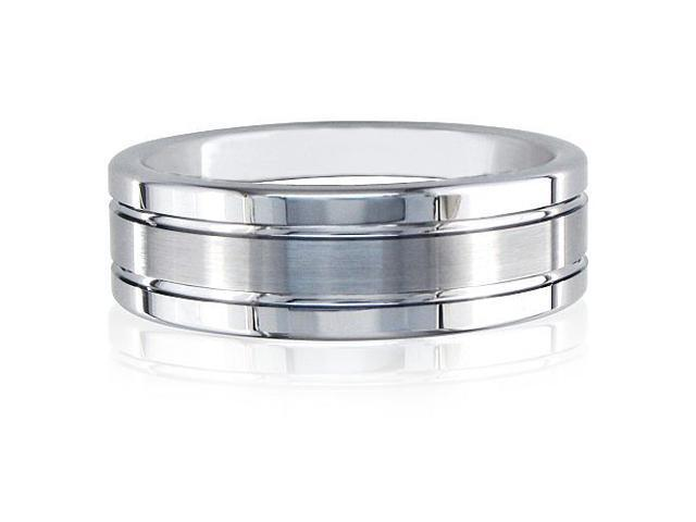 8mm Tungsten Band, Engraved Ring with Brush Finish