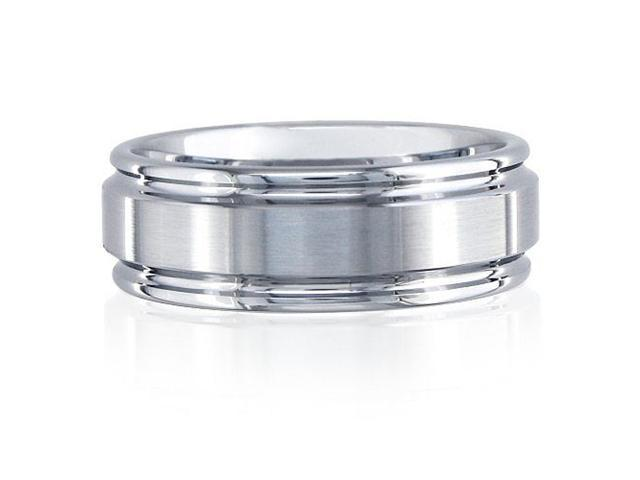 8mm Brush Finished Tungsten Carbide Band Ring Sizes 9 1/2 to 12
