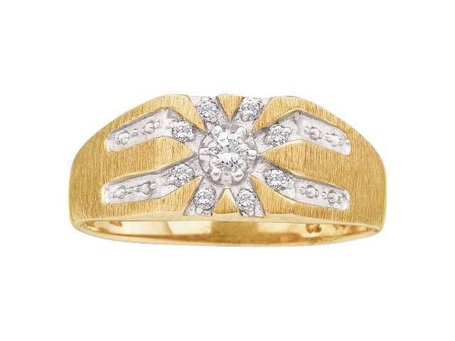 Mens Diamond Signet Ring 10k White Yellow Gold Anniversary Band