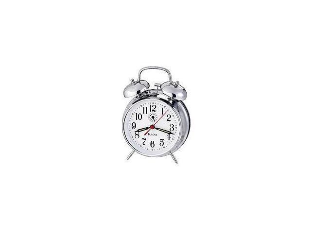 Bulova Travel White Dial Alarm Clock #B8127