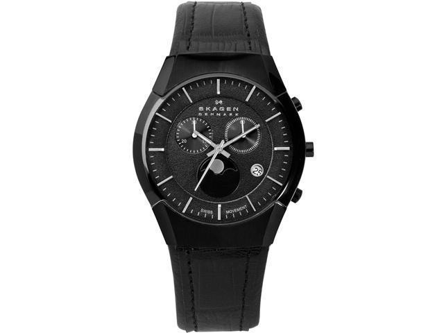 Skagen Black Label Moonphase Chronograph Black Dial Men's watch #901XLBLB