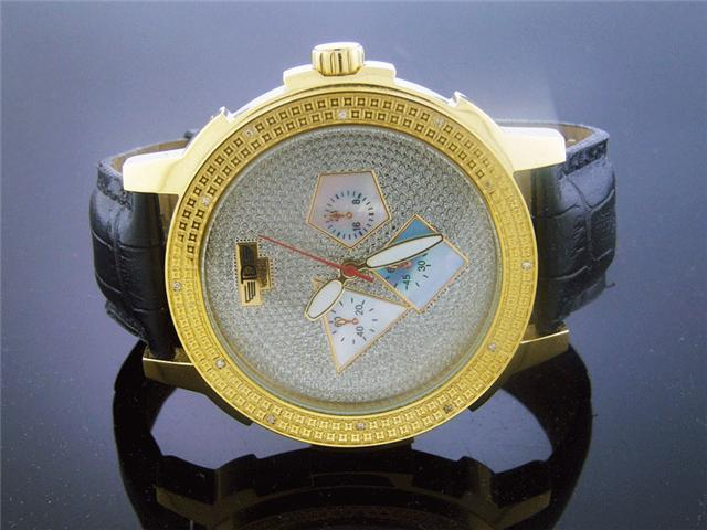 Techno dIezel Round 0.15CT Diamonds 55mm YG Watch