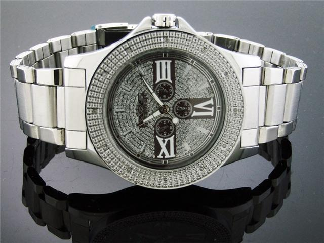 Men King Master 50MM Round 12 Diamond Silver Face watch