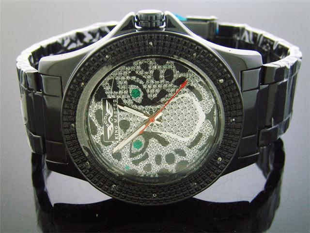 King Master 12 Diamond Watch with Black Case Skull Face