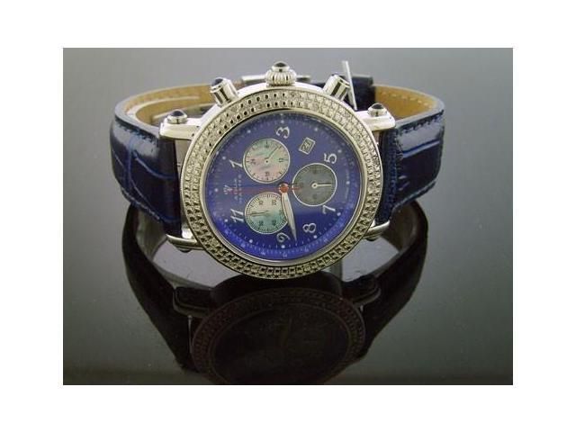 Aqua Master Round 40MM 20 Diamond Watch Blue Face & Band
