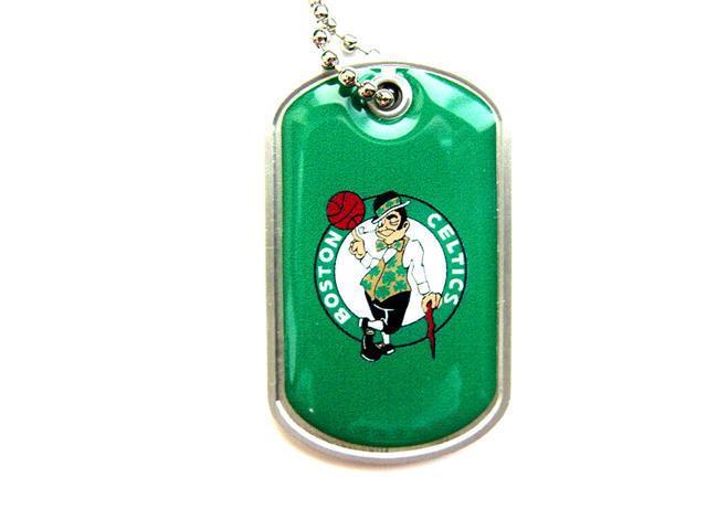 Boston Celtics Dog Tag Domed Necklace Charm Chain Nba