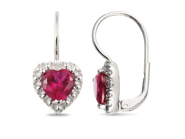 Amour Collections .05 ct.tw. Diamond & 3 1/5 CT TGW Created Ruby LeverBack Earrings Silver I3