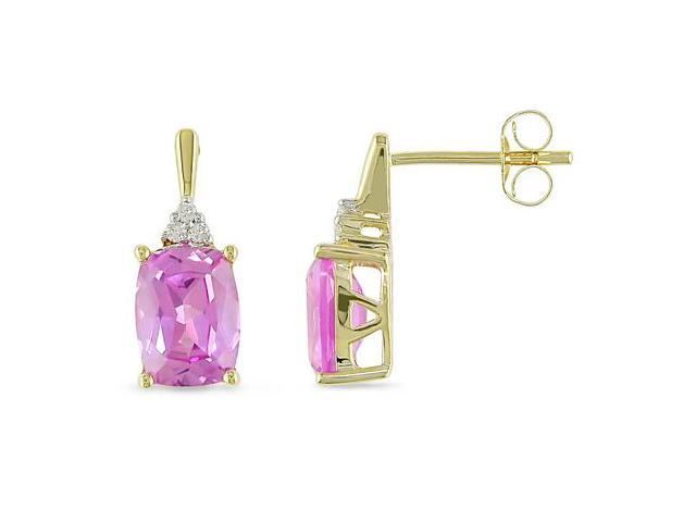 0.05 CT Diamond TW And 4 3/8 CT TGW Created Pink Sapphire Ear Pin Earrings