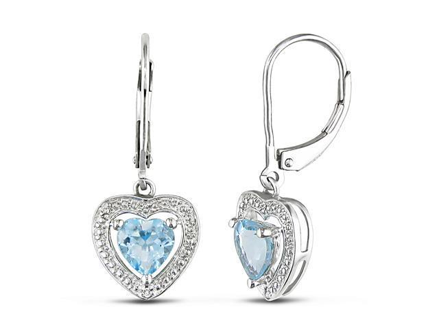 0.01ct Diamond TW and 2ct Blue Topaz - Sky TGW Leverback Earrings Silver