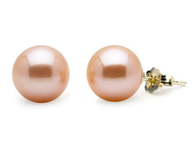 Freshwater Pink-Peach Pearl Earrings 9mm AA+ Quality - 14k