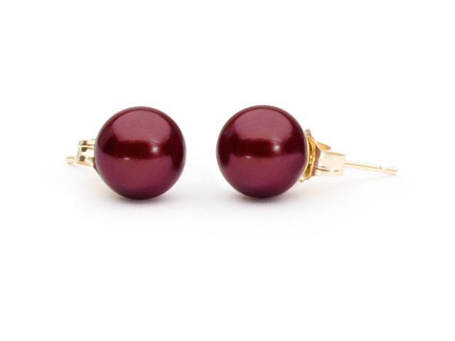 The Pearl Outlet 8mm 14k Gold Posts AAA Cranberry Red Freshwater Pearl Earrings