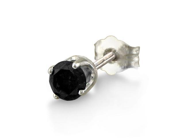 1/6ct SINGLE Black Diamond Stud Earring in 14k White Gold