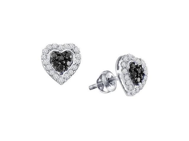 Black Diamond Heart Earrings 10k White Gold (1/3 Carat)