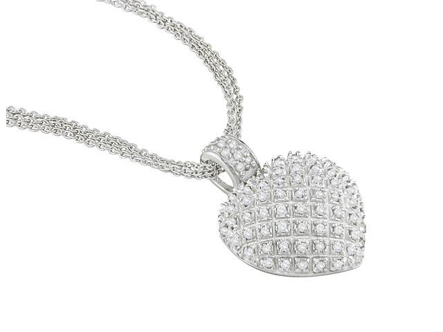 Amour Collections 1 CT Diamond Heart Necklace w/ Sterling Silver