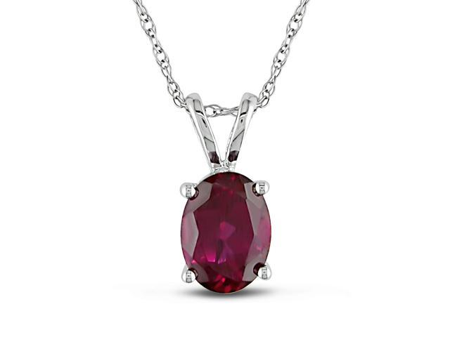 Created Ruby Pendant in 10k White Gold