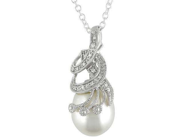Silver Freshwater Pearl and Diamond Pendant