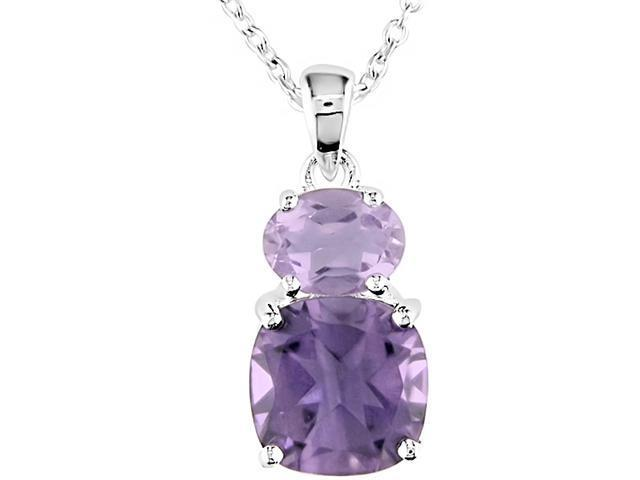 Amour Collections Sterling Silver Amethyst and Rose de France Pendant